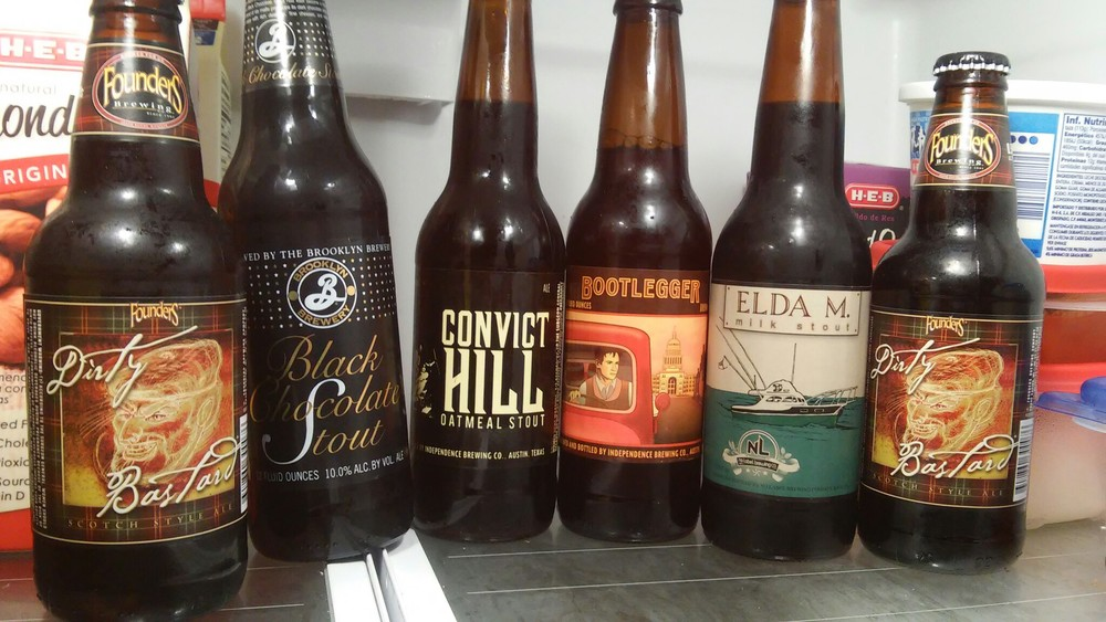 """(L to R) Founders """"Dirty Bastard"""", Brooklyn Brewery """" Black & Chocolate Stout, Independence Brewing """" Convict Hill"""", """"Bootlegger"""", No Label Brewery """"Elda M."""""""