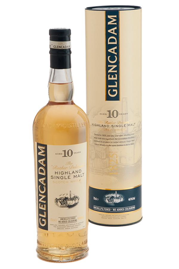 "Multi-award winning Glencadam Highland Single Malt Scotch Whisky Aged 10 Years is a fine example of centuries of craftsmanship and tradition. ""The Rather Delicate"" malt with a beautifully balanced, pure flavor."