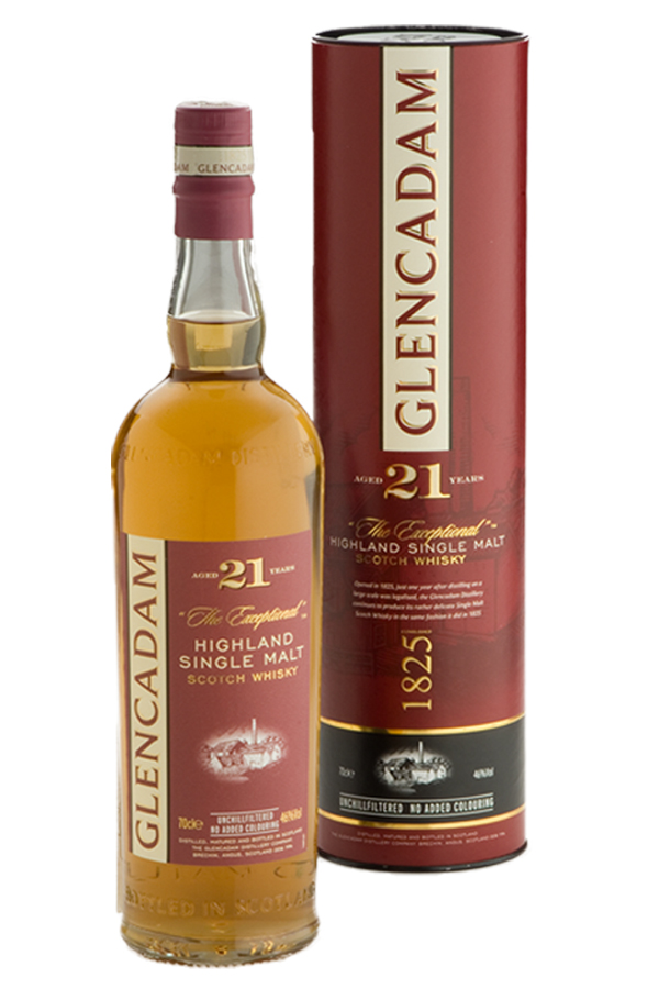 """Multi-award winning Glencadam Highland Single Malt Scotch Whisky Aged 21 Years is a fine example of centuries of craftsmanship and tradition. """"The Exceptional"""" malt with a beautifully lingering, true flavor."""