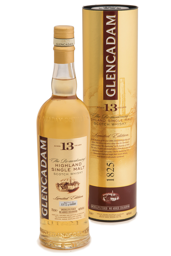 "Multi-award winning Glencadam Highland Single Malt Scotch Whisky Aged 13 Years is a fine example of centuries of craftsmanship and tradition. ""The Re-Awakening"" malt with a beautifully mouth-watering, true flavor."