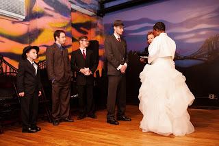 Rick and Stephanie's Hollywood Film Noir Wedding at Rebar in Brooklyn
