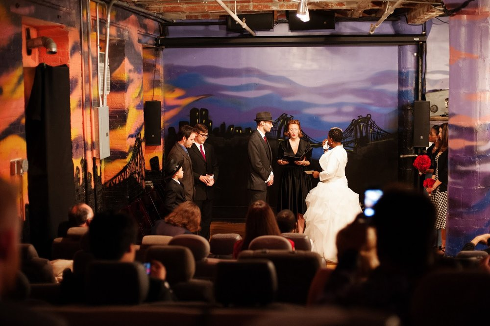 Rick and Stephanie's Hollywood Film Noir Themed wedding at Rebar in Brooklyn