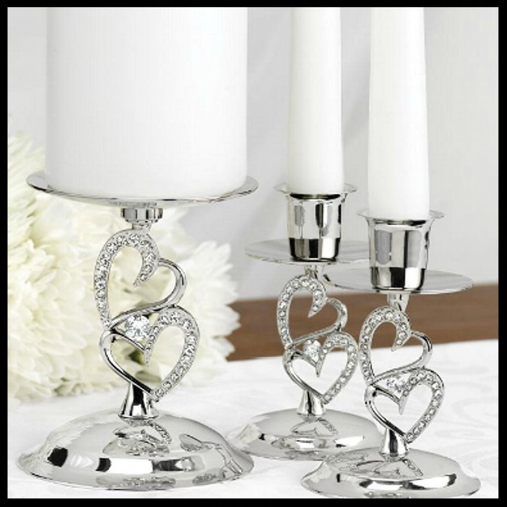 $59.95 Sparkling Double Hearts Unity Candle Stands