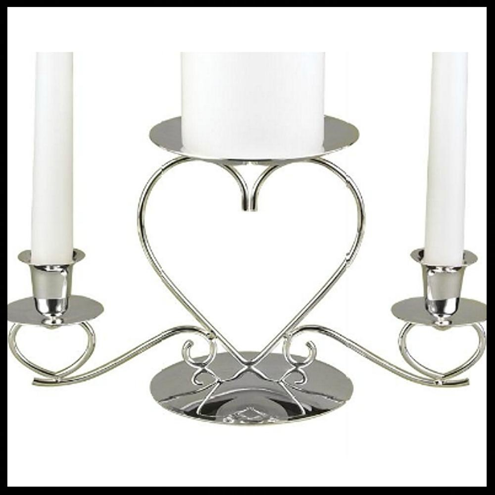 $47.95 Triple Hearts Silver Plated Unity Candle Holder