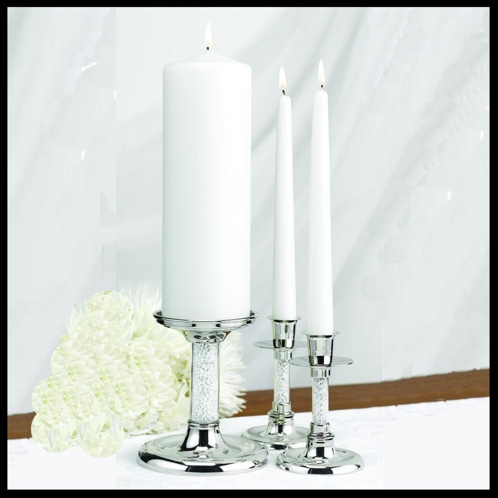$67.95 Glittering Beads Nickel-Plated Unity Candle Stand Set