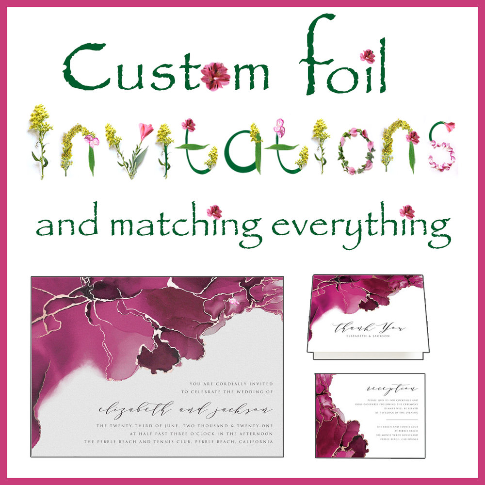foil invitations and matching everything.jpg