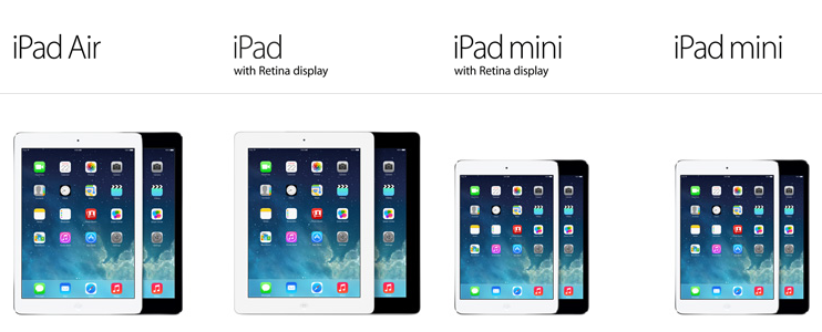 The current available iPad models are: the iPad Air, the standard iPad, and the iPad mini. Compare models here.