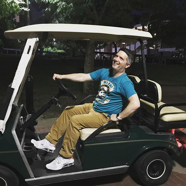 Hey y'all hey! Eric Petty has been part of the Uplift team for 18 years. This marks his last year here, but his first to be trusted with a golf cart! #uplift18 #leaveyourmark