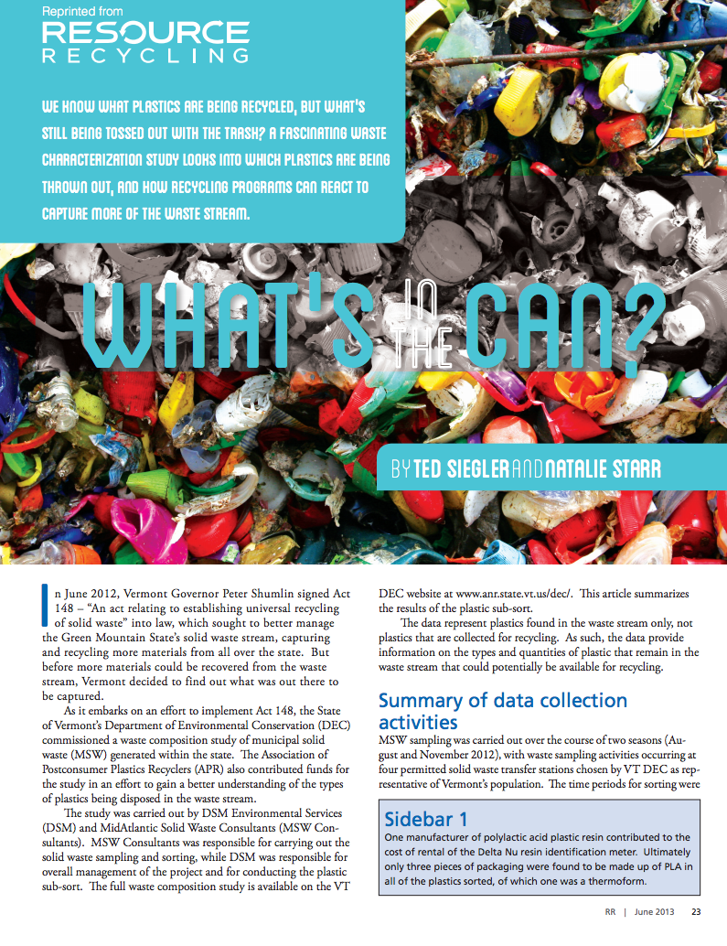 What's in the Can?  Ted Siegler and Natalie Starr Resource Recycling, June 2013
