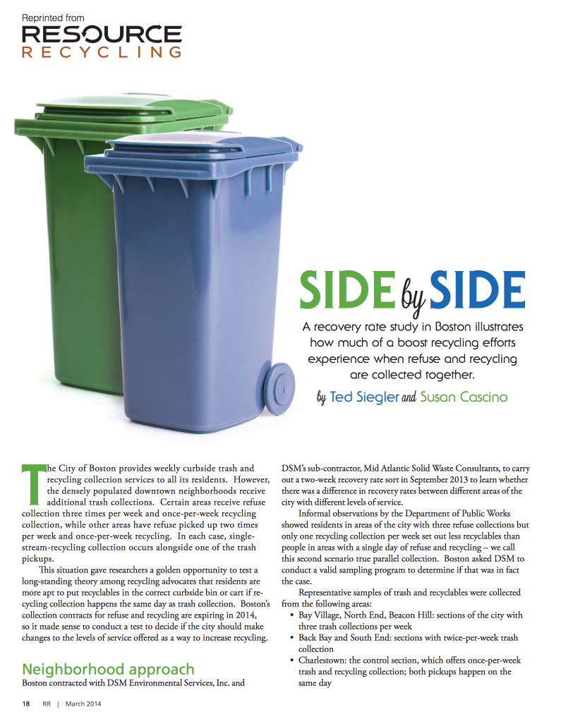 Side by Side Ted Siegler Resource Recycling, March 2014