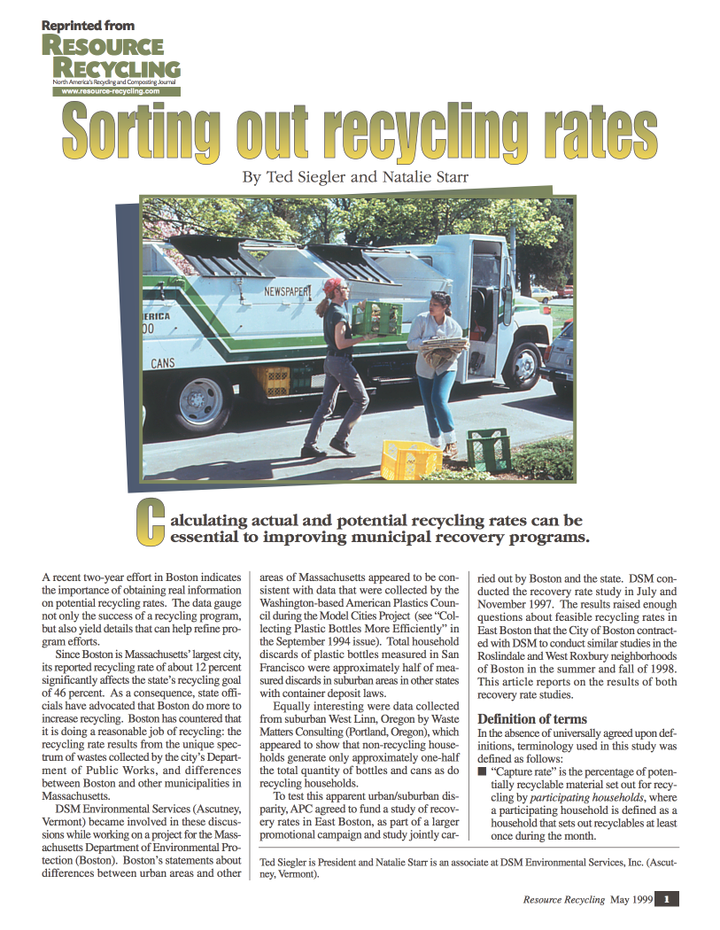 Sorting Out Recycling Rates (pdf 5MB) Ted Siegler and Natalie Starr  Resource Recycling, May 1999