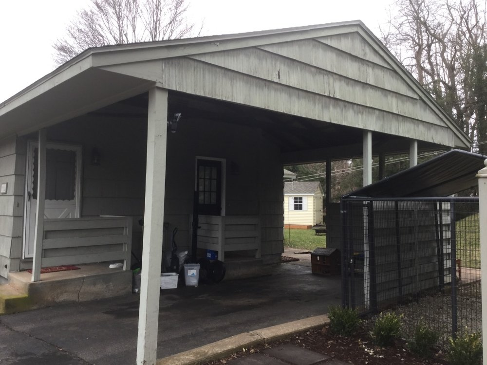 Convert carport into interior living space - Before