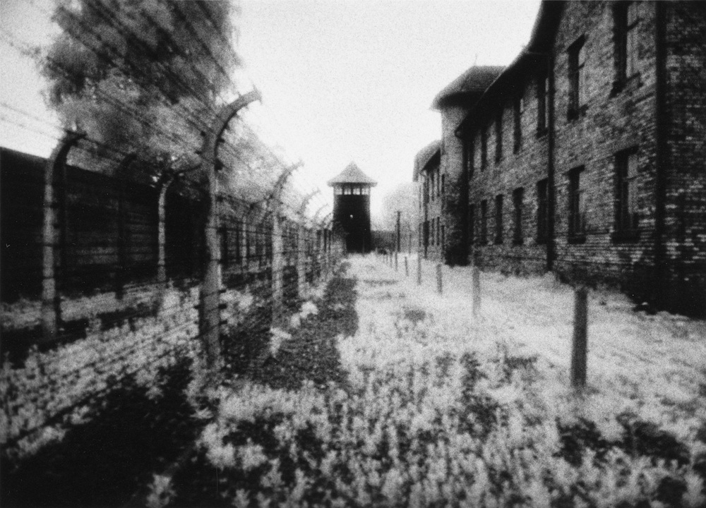 Exterior,  Auschwitz Concentration Camp, Poland, 1990  Infrared Gelatin Silver Print  ©Judy Ellis Glickman. All Rights Reserved