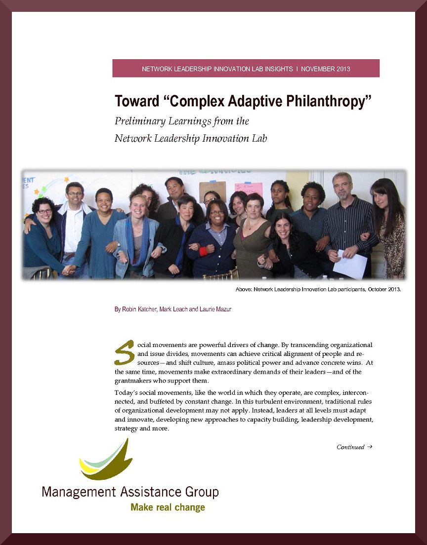 Towards 'Complex Adaptive Philanthropy:' Preliminary Learnings from the Network Leadership Innovation Lab
