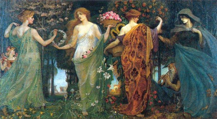 "The Masque of the Four Seasons , Walter Crane - ""Maiden, Mother, Crone"" - superbalancedlife.com"