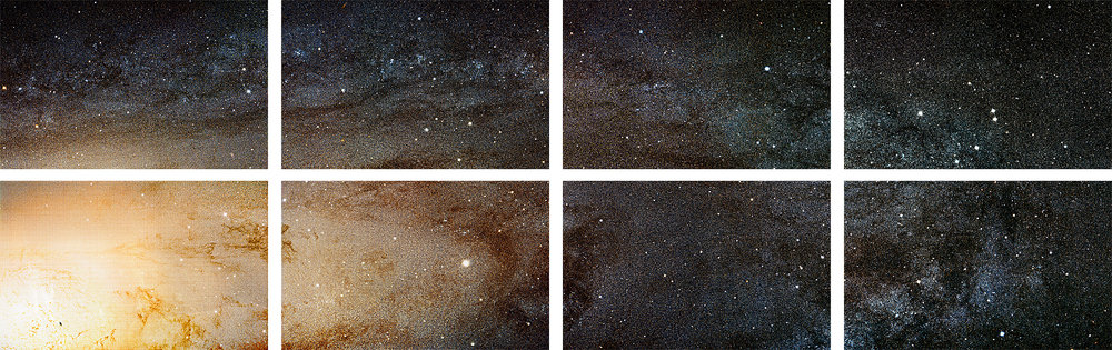 "The Andromeda Galaxy (M31), The Sharpest Image Ever Taken of Our Galactic Next-Door Neighbor, 2015, Octaptych, 39"" x 121,"" Pigment on Rag, Source Image: Photo by NASA, ESA, J. Dalcanton, B.F. Williams, and L.C. Johnson (University of Washington), the PHAT team, and R. Gendler. © Lauren Henkin."