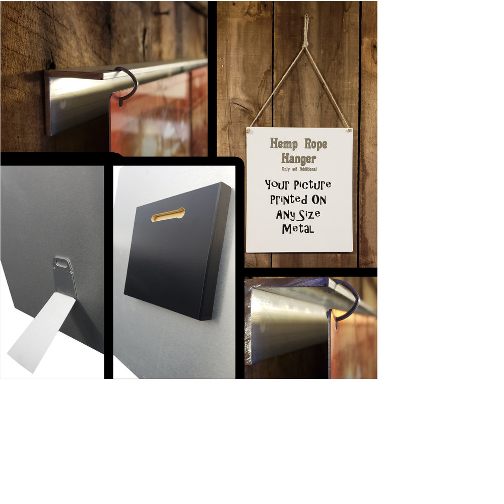 Metal Hanging and Display Options - We have many different options for displaying your metal piece. From a simple easel back stand, or floater block to a custom made starter bar to hang your piece, we can personalize a look that will properly display your new piece of art.