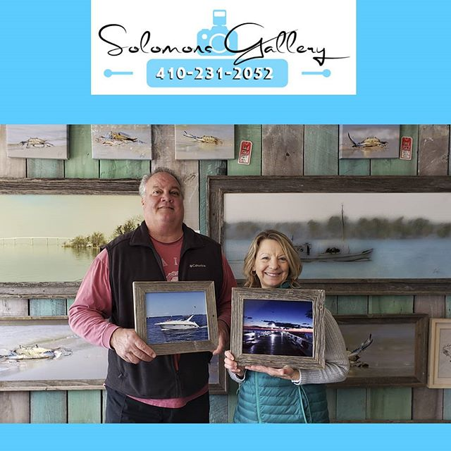 """Our """"Print Of The Day"""" belongs to Sam & Mary. We did two pieces for them, both on metal in a barn wood frame. Mary took this morning shot of the pier in North Beach and their friends took this picture of them on their boat. If you are thinking about printing your cell phone pictures Solomons Gallery is a great place to do it!  #SolomonsGallery #SolomonsIsland #Artwork #ModernArtwork #MarylandPhotography #MetalPrinting #Boat #Photographer #TerryQuinn #Somd #BarnWoodFraming #CanvasPinting #CelPics #CellPhone #CellPhonePictures #SamAndMary #UpperMarlboro #FrederickDouglassHighSchool #NorthBeach"""