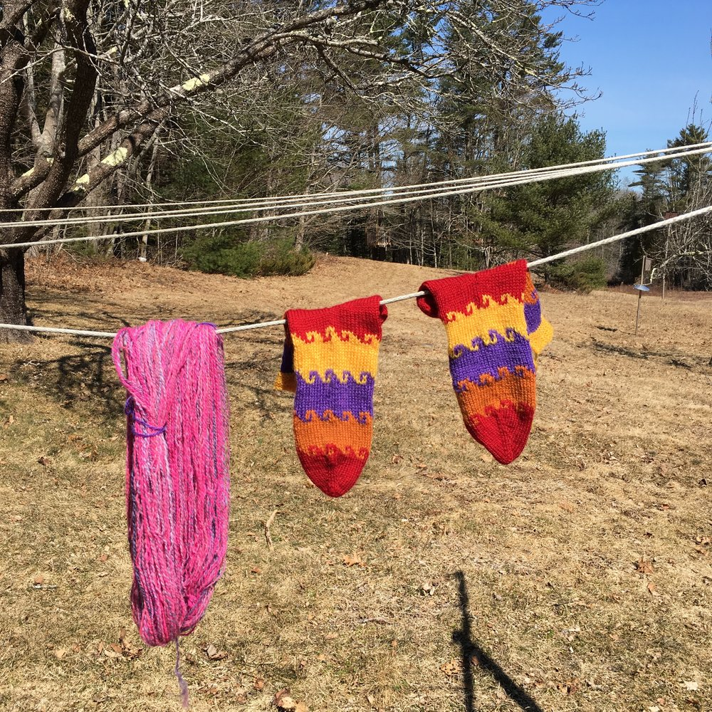 New Turkish Walrus samples and handspun for long version hanging to dry