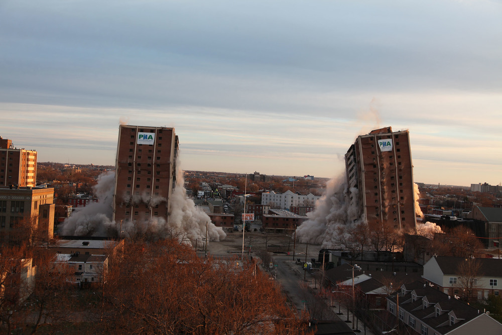 ... The Philadelphia Housing Authority Imploded Two High Rises At The Site  Of The Norman Blumberg Apartments In North Philadelphia As Part Of The ...