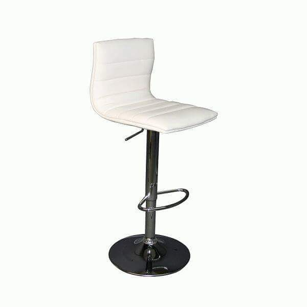 Bar Stool: SB200 Model Number - Color: - SB200 - White (Leather)/ Chrome Base  #MetroOfficeFurnitureRental #barstool #rooftopbar #rooftop #bar #chair #stool #leather #chrome #cushion #furniture #rental #nyc #white #event #office #party #style #classic #chique #quality #specialevents