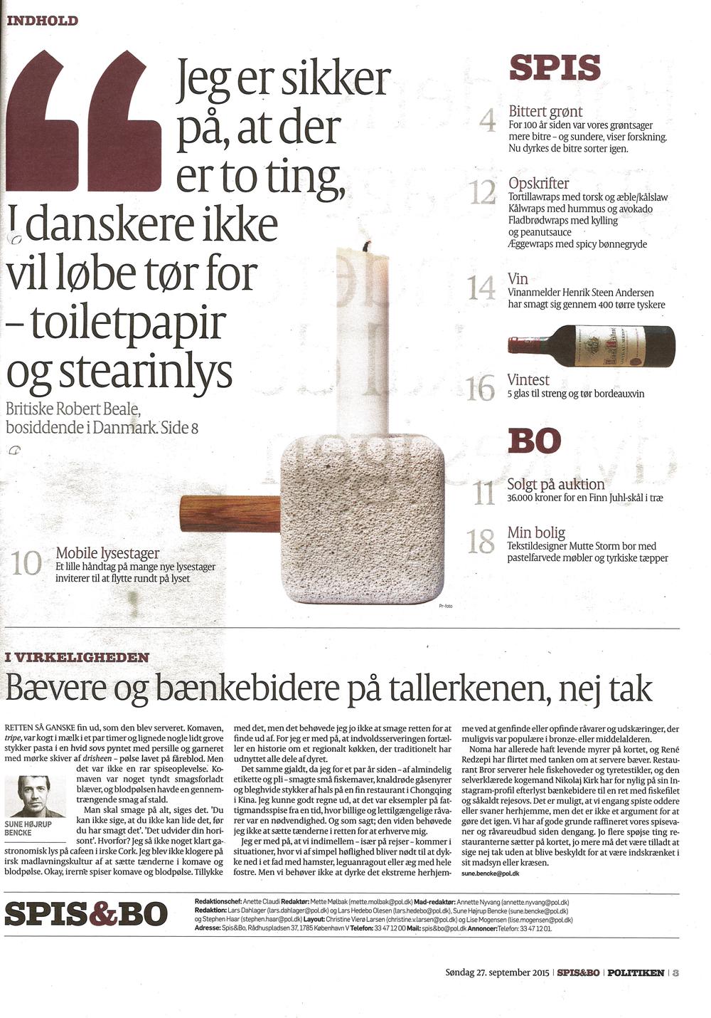 Politiken SPIS&Bo Søndag d. 27.9.15