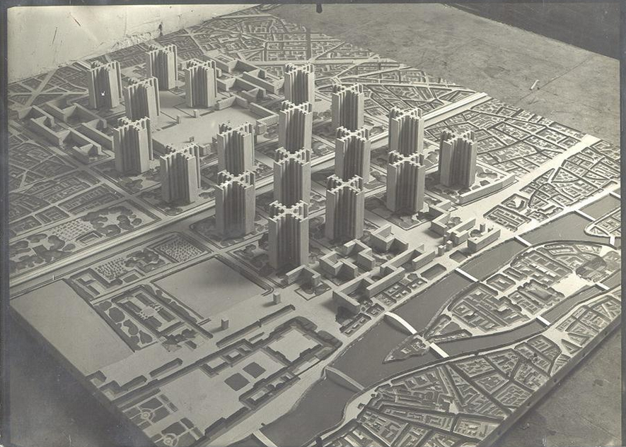Modernist architect Le Corbusier's 1922 proposal to destroy 2 square miles in the center of Paris and replace them with high-rise apartment towers fronted with parking lots and connected by highways.