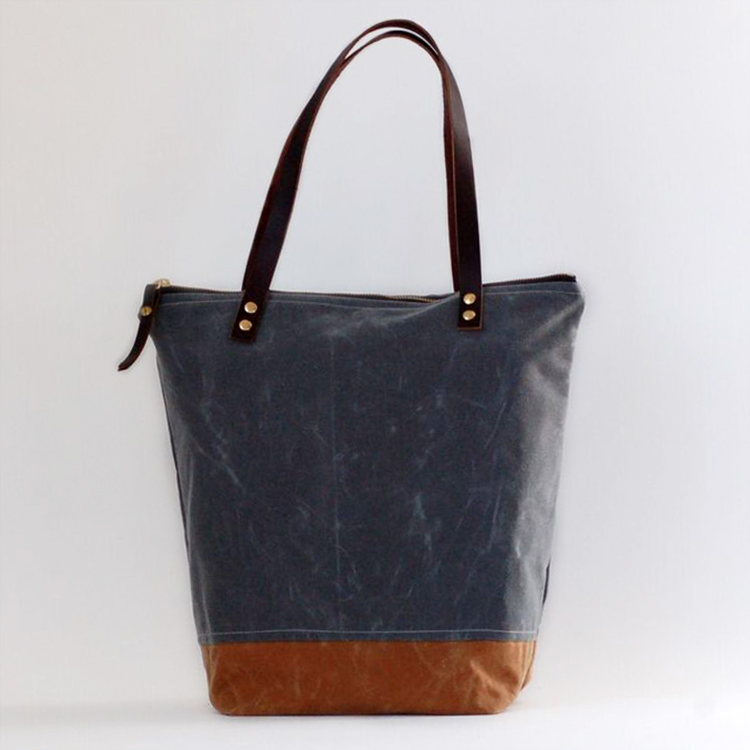 644f7333a charcoal & brown two tone waxed canvas tote