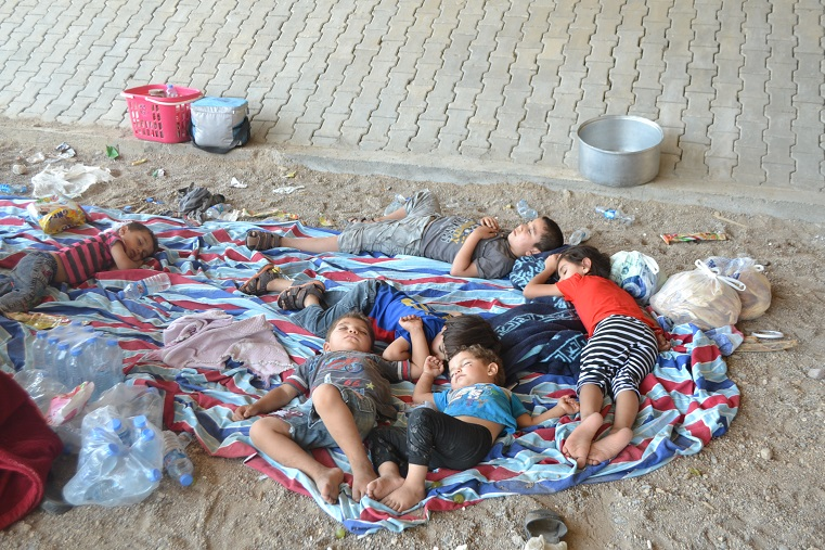 Having fled their homes in Mosul, these families were reduced to sleeping under a bridge
