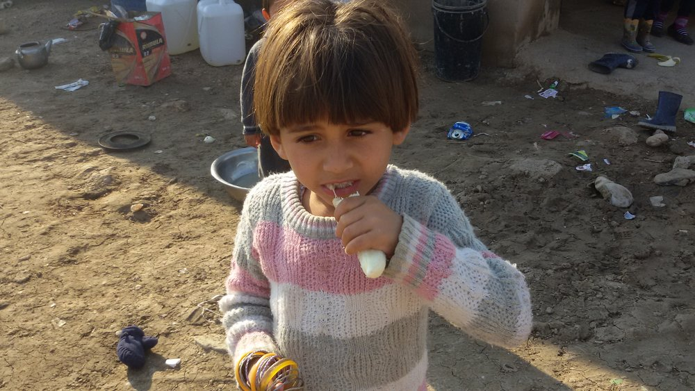 One of four orphans in Iraq supported by Samara's Aid Appeal with food, hygiene items and winter fuel. These orphans were taken in by a displaced family with six other children to support.