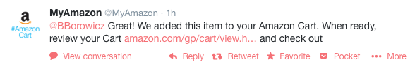 Confirmation tweet from  @MyAmazon.