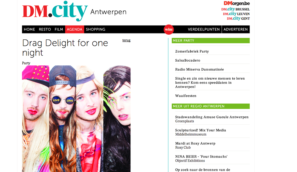 De Morgen magazine using my image for The Party Trashers.