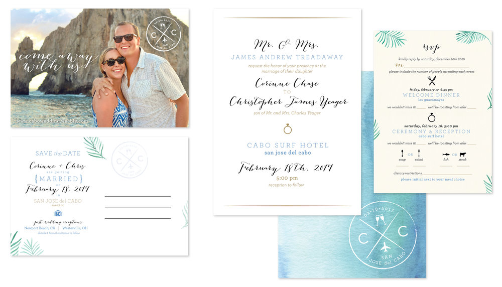 save the date, wedding invitation front & back, RSVP card