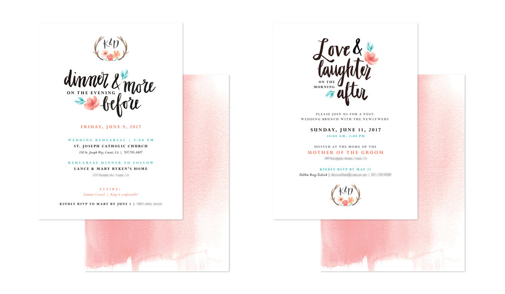 rehearsal dinner invitation, brunch invitation