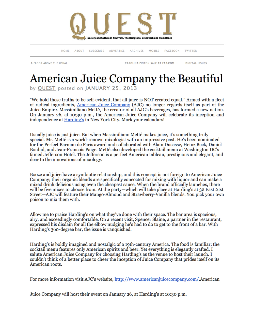 """We hold these truths to be self-evident, that all juice is NOT created equal."" Armed with a fleet of radical ingredients,American Juice Company (AJC) no longer regards itself as part of the Juice Empire. Massimiliano Metté, the creator of all AJC's beverages, has formed a new nation."