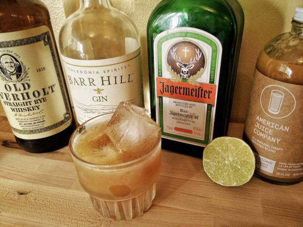 "A Lil Bit Harder 0.5 oz. Harriett Peacher Stowe 1.5 oz. Gin 0.5 oz. Jagermeister 0.5 oz. whiskey 0.5 oz. fresh lime juice (Recipe by Margie Maak from Maxfield's on Main, at Cocktails in the Country) ""I like to bring Jäger back to the party because no one gives it any love. This drink makes me feel like a nice summer day where no one needs to try that hard. And listen to Janis Joplin."""