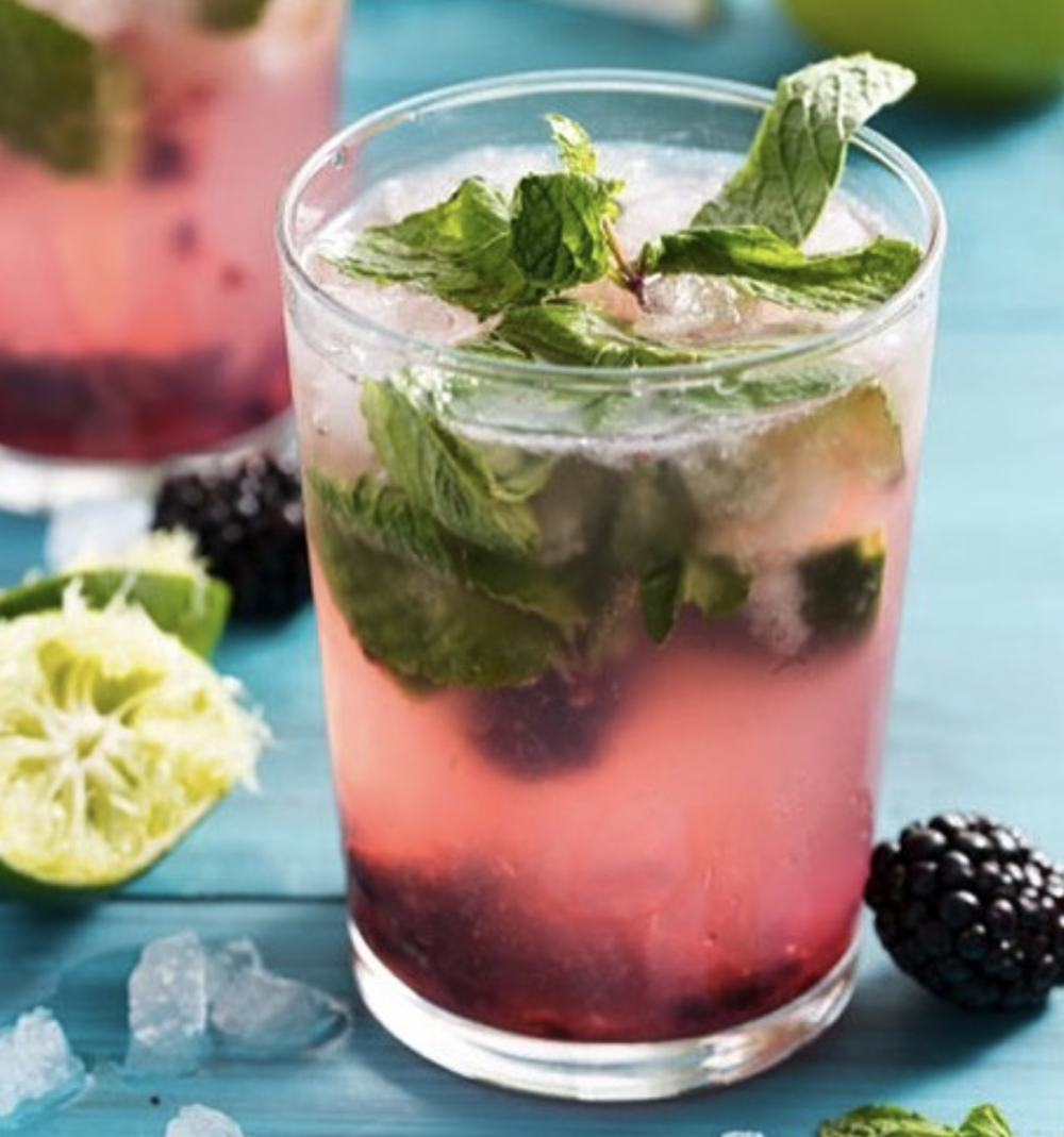 Blueberry + Cider Part 1 0.75 oz Blueberry Finn 0.5 oz St. Germaine 2.0 oz Hard Cider 1.0 oz Ginger Ale 8.0 leaves of fresh mint Muddle mint with the cider directly in the glass before topping off with other ingredients