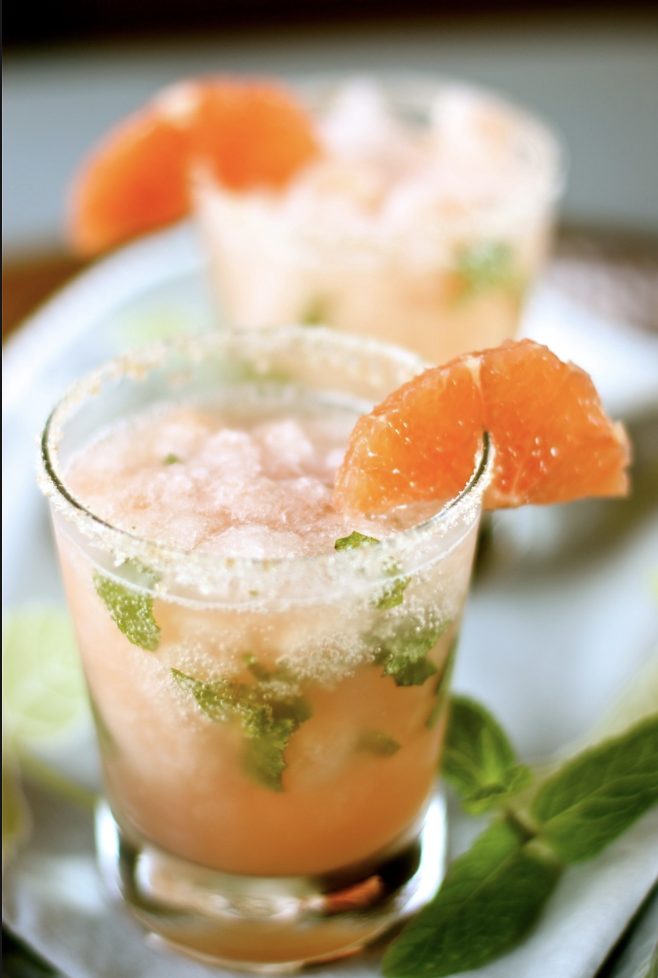 Lychee + Cider Part 2   0.75 oz Lady Lychee 0.5 oz St. Germaine 2.0 oz Hard Cider 1.0 oz Ginger Ale 8.0 leaves of fresh mint Muddle mint with the cider directly in the glass before topping off with other ingredients, garnish with grapefruit