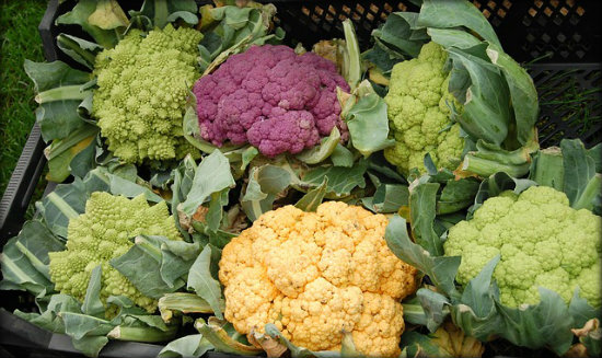 Yellow, green and purple cauliflower provide slightly different nutrient and taste profiles than the white variety.