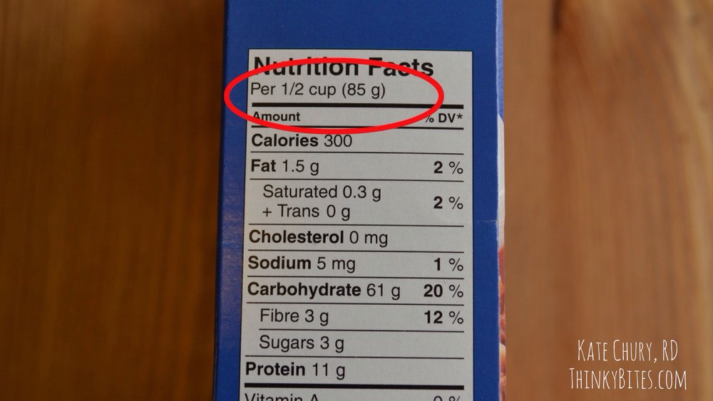 Always take note of the serving size.