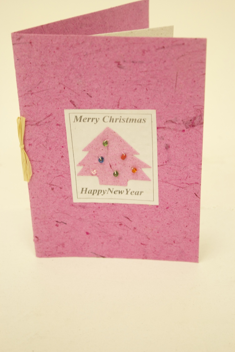 Bright Pink Recycled Paper Christmas Card — Kamhlaba\'s