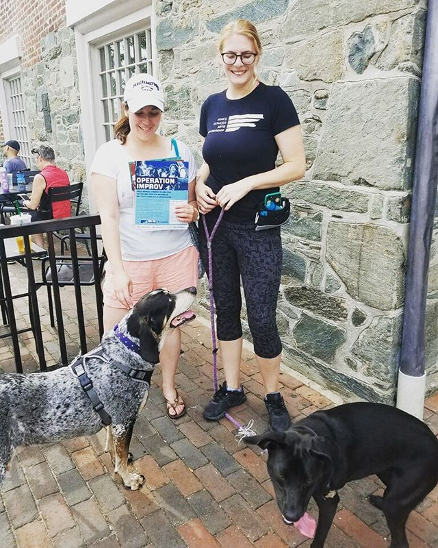 Spent the morning flyering for @armedservicesartspartnership with the gorgeous @skliney3k, old man Freckles, and Barkimedes!