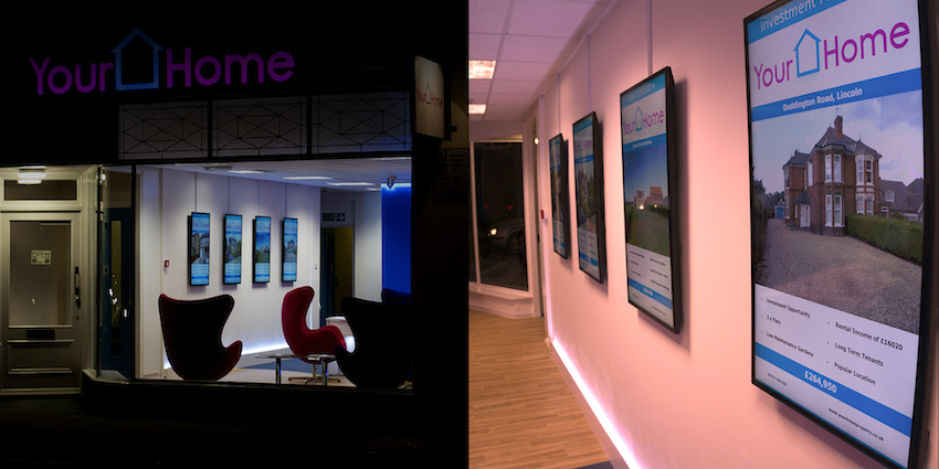 Your Home Estate agents in Lincoln, England, using dB Displays with full effect.