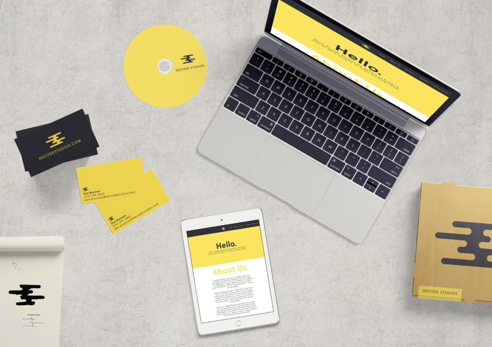 Mockups with the new Decode Studios brand identity.
