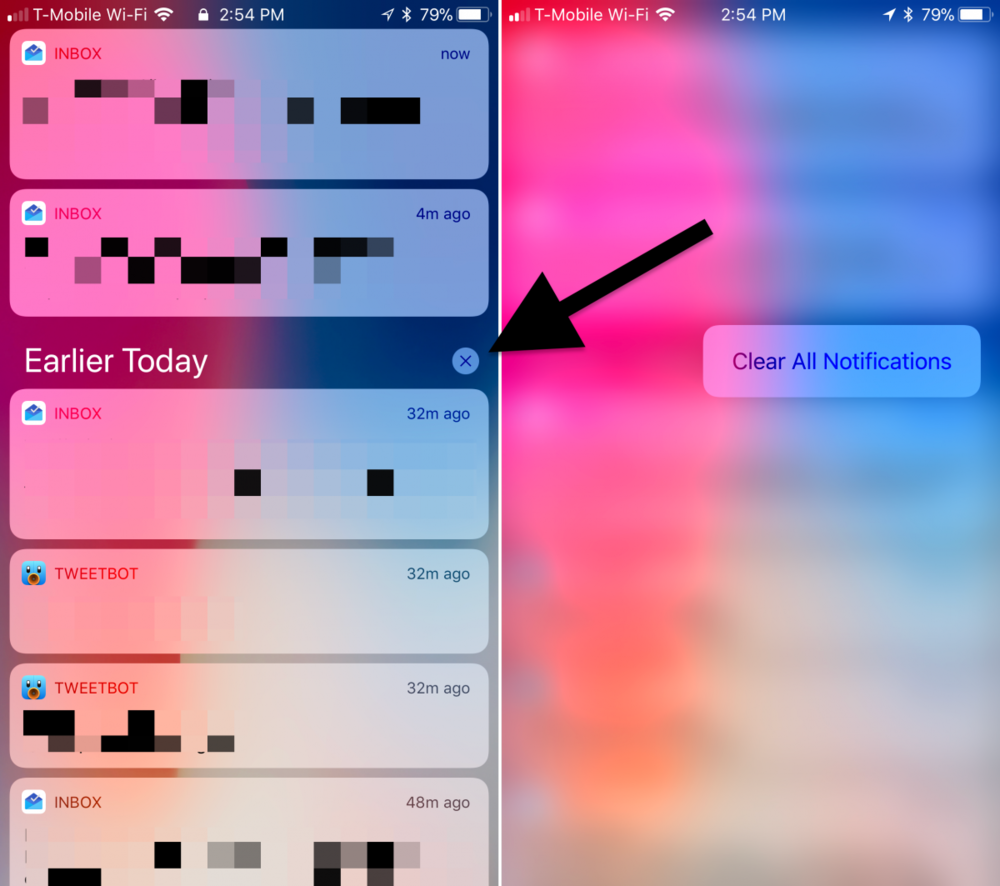 "1. One of the first changes you'll probably notice in iOS 11 is the new way notifications are managed. To clear all of your notifications at once, you just tap and hold on the ""X"" button."