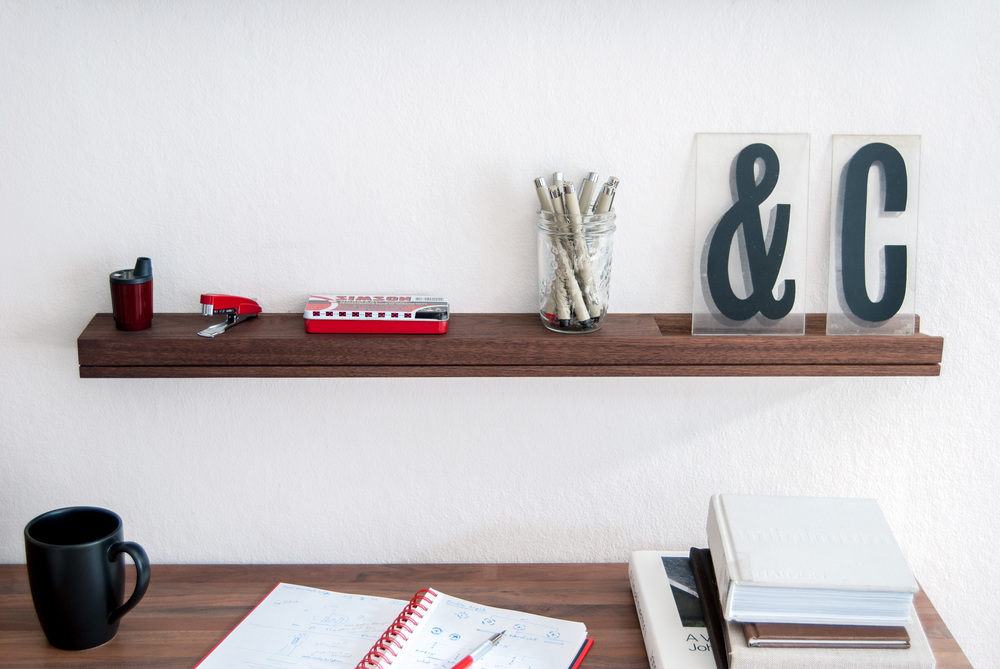 Office Floating Shelf with Desk Accessories - SINGULAR wall console