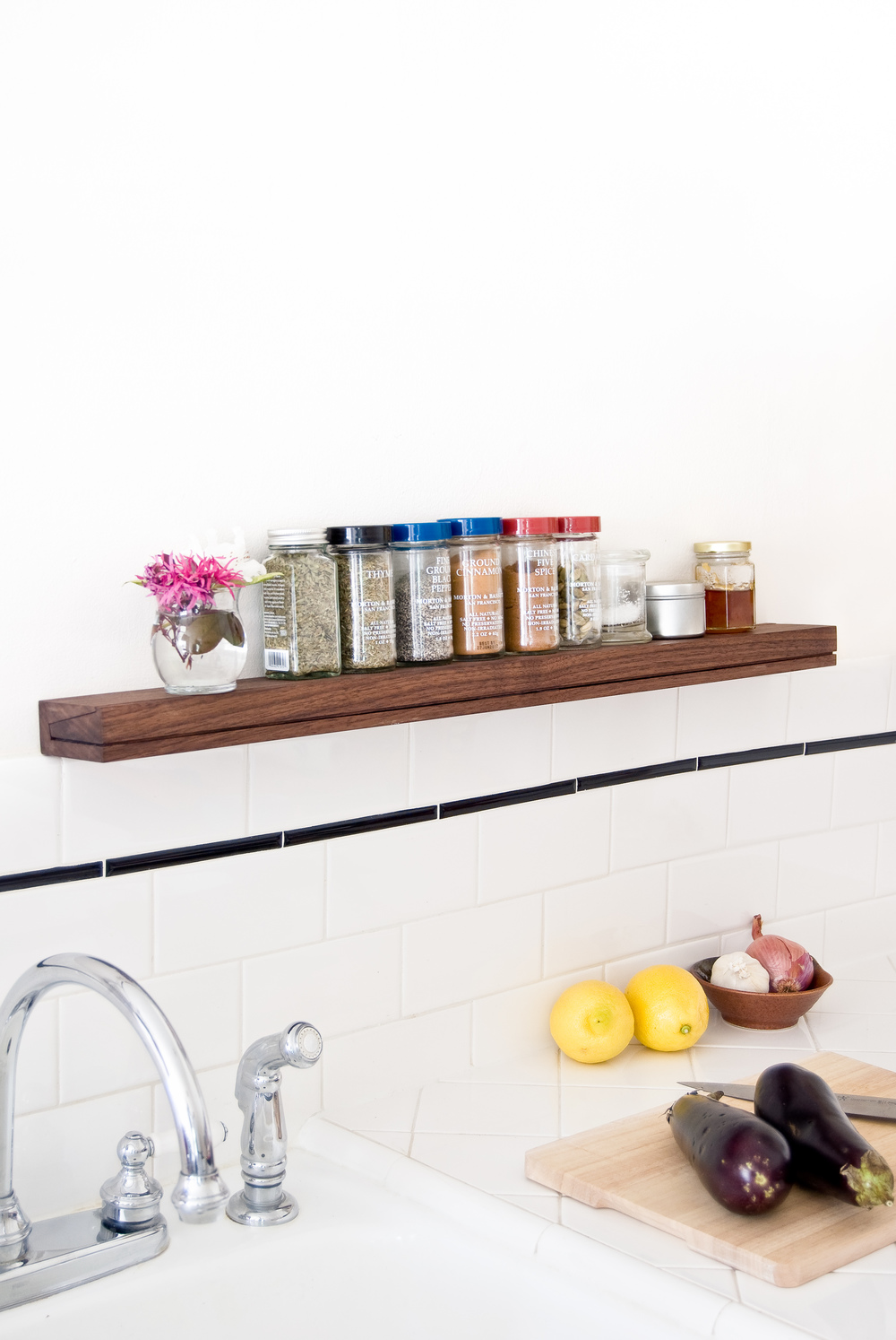 Wood spice rack floating shelf - SINGULAR wall console