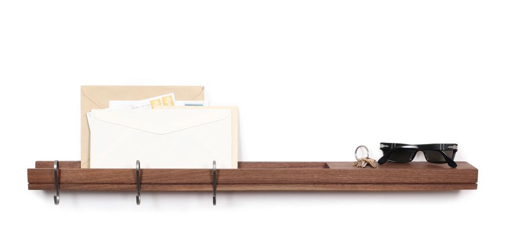 SINGULAR wall console floating entry shelf and coatrack