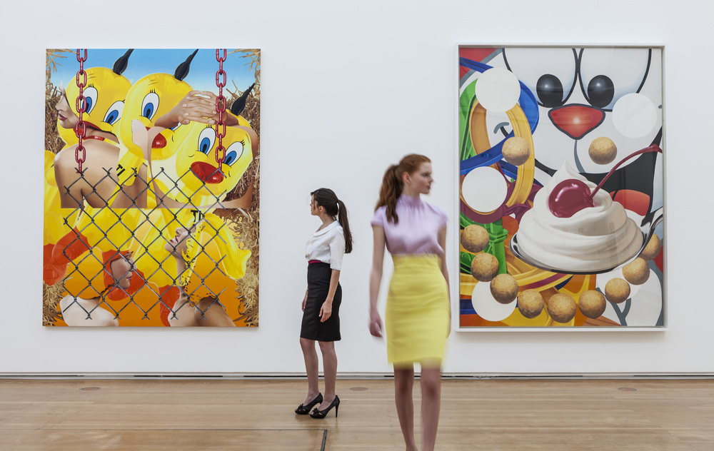 Carefully posed art babes respond to Koons paintings.  Or don't.