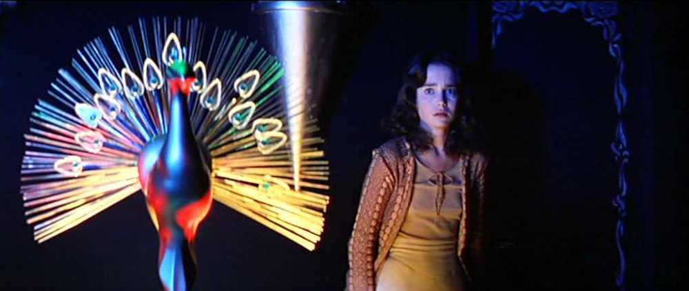 In Suspiria (1977), Jessica Harper wonders, Is that peacock thing beautiful or just tacky?